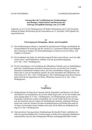 1.1 Streupflichtsatzung - Stadt Weinsberg