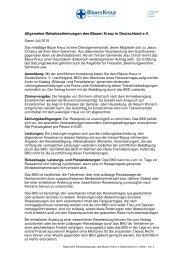 Allgemeine Reisebestimmungen BKD eV - Blaues Kreuz Deutschland