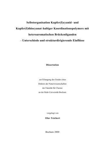 Selbstorganisation Kupfer(I)cyanid- und Kupfer(I)thiocyanat-haltiger ...