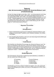 Satzung über die kommunalen Friedhöfe der Gemeinde Molauer Land