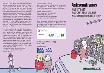 "Flyer ""Antisemitismus"" - Amadeu Antonio Stiftung"