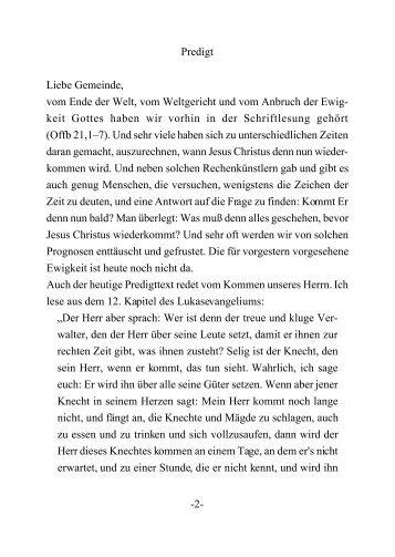 -2- Predigt Liebe Gemeinde, vom Ende der Welt, vom ... - buerzele.de