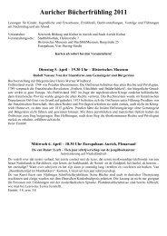 Programm des Auricher Bücherfrühlings - Stadt Aurich