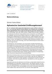 Aphasiechor bestreitet Eröffnungskonzert - Aphasie Suisse