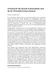Die Sprache in Deutschland, auch die der Wirtschaft ist klares Deutsch