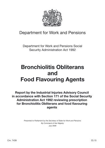 Department for Work and Pensions Bronchiolitis Obliterans and ...