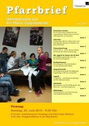 Pfarrbrief Informationen aus der Pfarre Gaspoltshofen