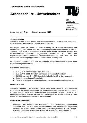 AUM - Sicherheitstechnische Dienste und Umweltschutz - TU Berlin
