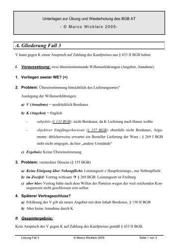 Lösung Fall Schr 1 6 Dr Marco Wicklein