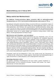 Medienmitteilung vom 5. Februar 2010 - Mathys AG Bettlach