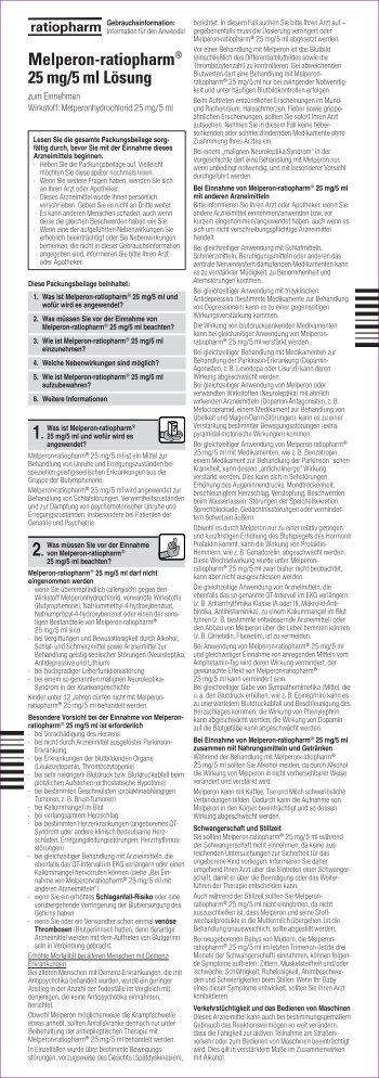 Melperon-ratiopharm® 25 mg/5 ml Lösung - Besamex