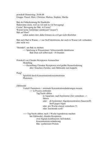 protokoll Donnerstag: 26.06.08 Gruppe: Pascal, Maxi ... - 2008 iGEM
