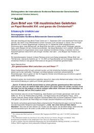 Stellungnahme zum Brief islamischer Theologen - Evangelische ...
