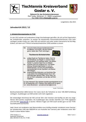 Bericht des Referenten für SR-Wesen - TTKV Goslar eV