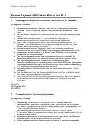 Kleine Anfragen der SPD-Fraktion Berlin-Mitte vom 03. Juni 2013