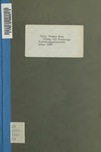 Bidrag til Frankrigs forfatningshistorie siden 1870