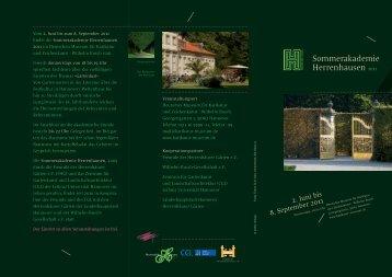 Sommerakademie Herrenhausen - des Zentrums für Gartenkunst ...