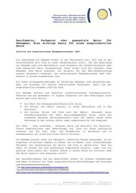 Berufsmatur, Fachmatur oder gymnasiale Matur für Hebammen ...
