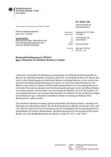 Zweites Rundschreiben des BMFSFJ zum BGleiG
