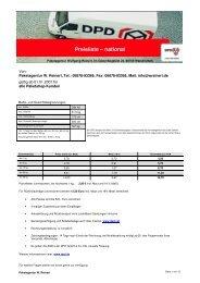 Preisliste und Rahmenbedingungen - Transporte Reinert