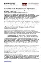 Pressemitteilung vom 15. Mai 2013   Classical:NEXT und IMZ