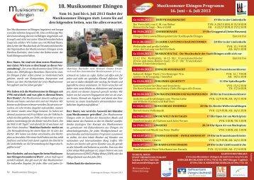 18. Musiksommer Ehingen - Stadtmagazin Ehingen