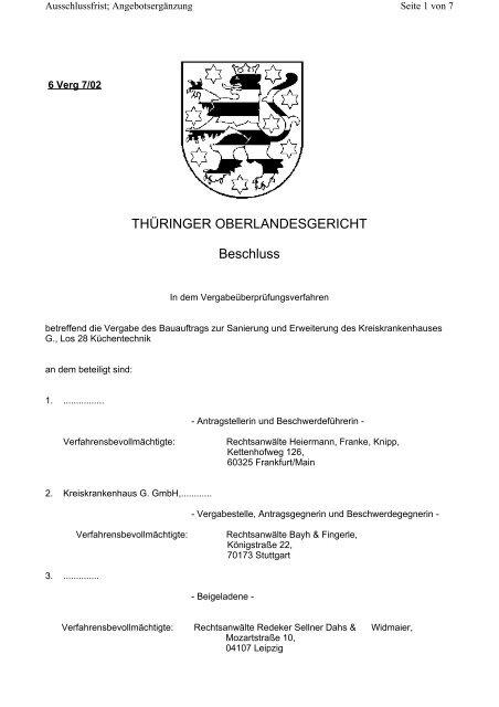THÜRINGER OBERLANDESGERICHT Beschluss - Oeffentliche ...
