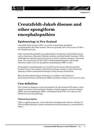 Creutzfeldt-Jakob disease and other spongiform ... - Ministry of Health