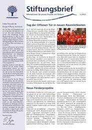 Stiftungsbrief 1 2013 - Bürgerstiftung Hannover