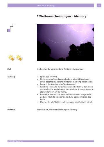 1 Wettererscheinungen – Memory - BERNETVerlag