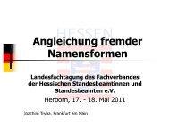 Angleichung fremder Namensformen - Fachverband der Hessischen ...