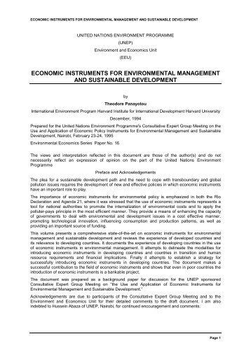 Economic instruments for environmental ... - Indiana University