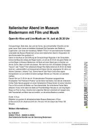 Italienischer Abend im Museum Biedermann mit Film und Musik