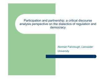 Participation and partnership: a critical discourse analysis ...