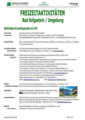 Freizeitaktivitäten vor Ort - Bank Austria