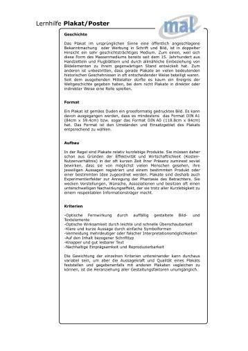 Lernhilfe Plakat/Poster