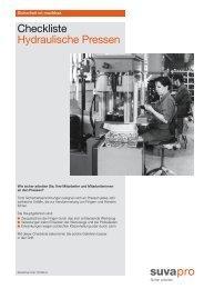 Checkliste: Hydraulische Pressen - Suva