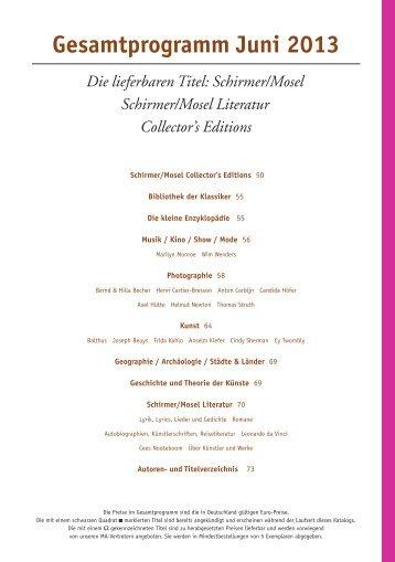 Gesamtprogramm Juni 2013 Die lieferbaren Titel: Schirmer/Mosel ...