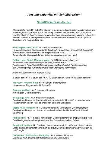 Schüßler-Salze für die Haut | PDF download - Apotheke Mayr