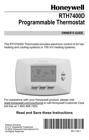 68 0163 t7100d e f microelectronic commercial honeywell honeywell rth7400 thermostat instructions