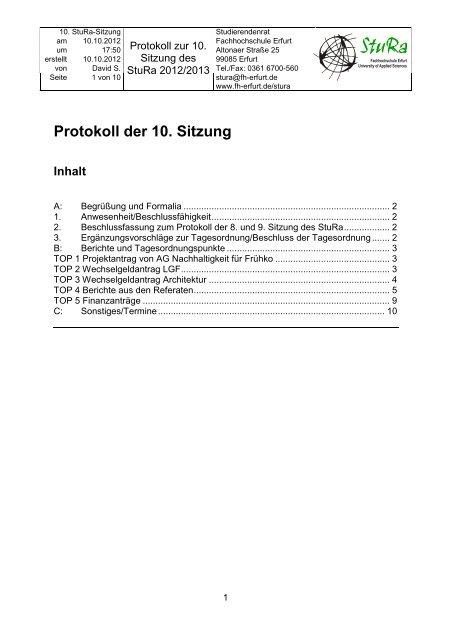 10. Sitzung - Fachhochschule Erfurt