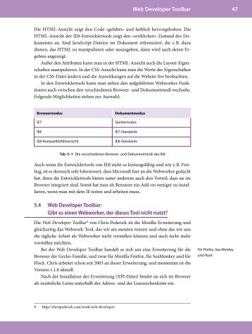Kapitel 5.4 Webdeveloper Toolbar - Webwork-Tools