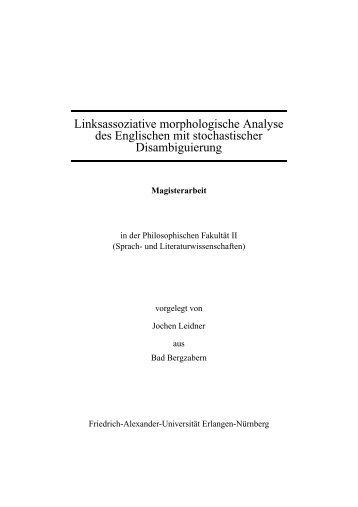 Linksassoziative morphologische Analyse des Englischen mit ...