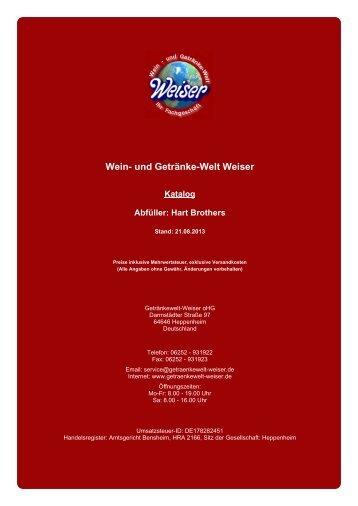 Katalog für Abfüller: Hart Brothers - und Getränke-Welt Weiser