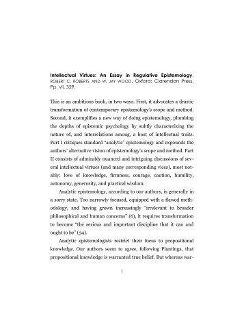 Intellectual Virtues: An Essay in Regulative Epistemology