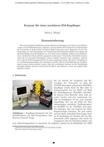 Konzept für einen modularen EM-Empfänger Zusammenfassung