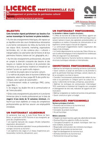 Tourisme et marketing territorial et patrimonial - Université Rennes 2