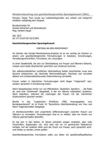 Ministerratsvortrag zum geschlechtergerechten Sprachgebrauch
