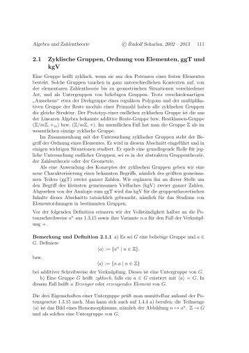 2.1 Zyklische Gruppen, Ordnung von Elementen, ggT und kgV