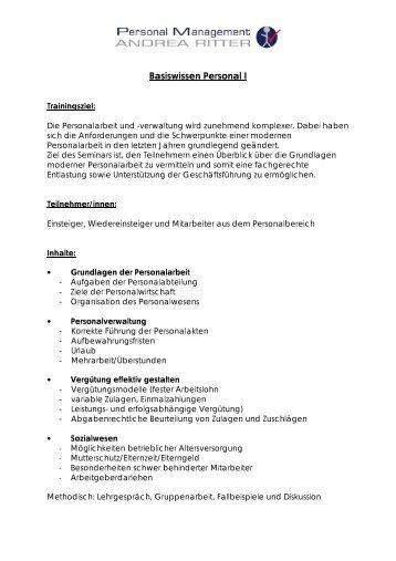 Basiswissen Personal I - PM Ritter GmbH